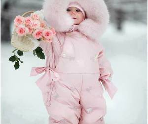 baby, pink, and flowers image