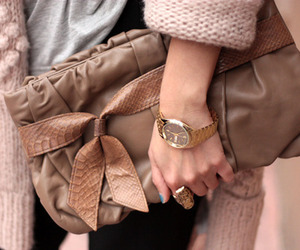 bag, brown, and girl image