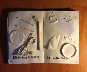 earphones, wreck this journal, and Paper image