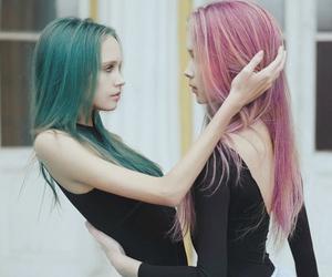 girl, hair, and pink image