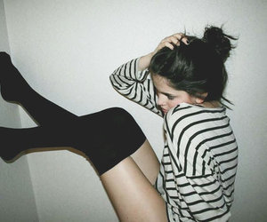 girl, socks, and stripes image