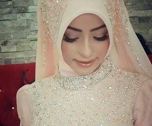 hijab, wedding, and bride image