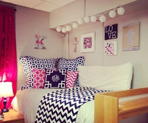 bed, chevron, and style image
