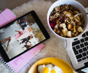 food, ipad, and breakfast image