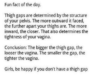 holy shit, thigh gap, and be glad image