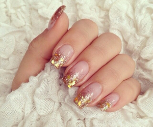golden, nails, and pretty image