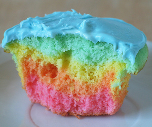 cake, cup cake, and rainbow image