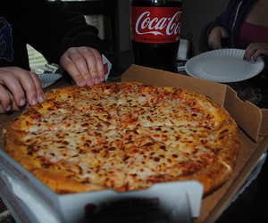 coca cola, food, and pizza image