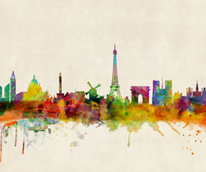 watercolor, wordl, and skyline. eiffel tower image