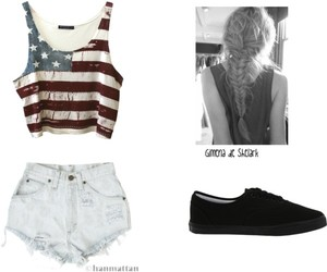 jean shorts, ouftit, and flag crop top image