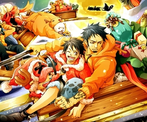 one piece, penguin, and luffy image