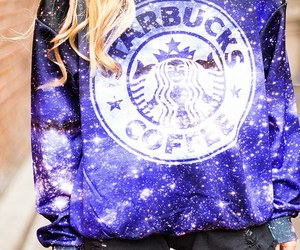 starbucks, galaxy, and fashion image
