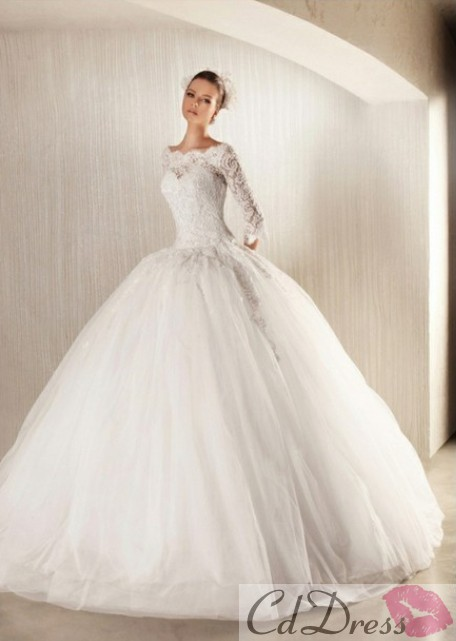 Ball Gown Tulle Lace Half Sleeves Winter Wedding Dress - Wedding ...