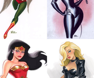 batman, cat woman, and drawings image
