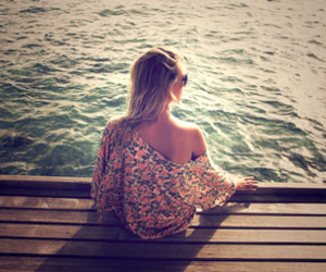 girl, sea, and water image