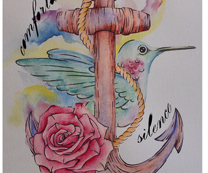 anchor, rose, and art image