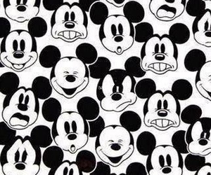 black and white, wallpaper, and mickey mouse image