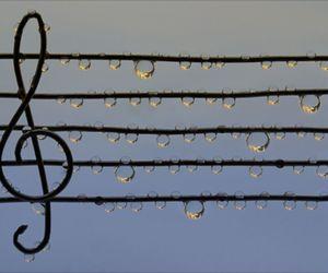 music, rain, and water image