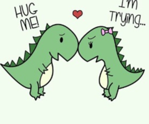 dinosaur, heart, and funny image