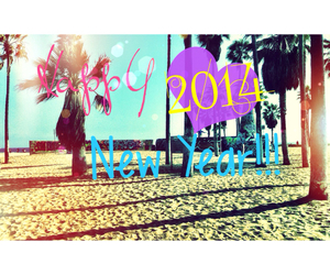 colors, happy new year, and palm trees image