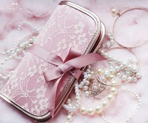 pearls, pink, and girly image