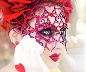 red, mask, and heart image
