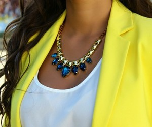 fashion, necklace, and yellow image