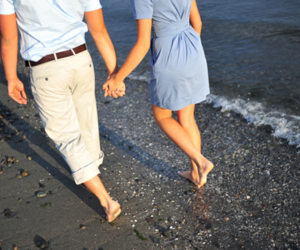 beach, couple, and holding hands image