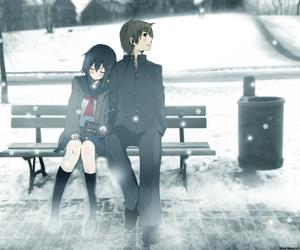 anime, couple, and snow image