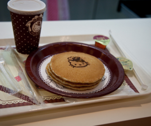 hello kitty, coffee, and pancakes image