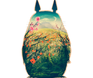 totoro, anime, and flowers image