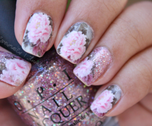 floral, glitter, and nail art image