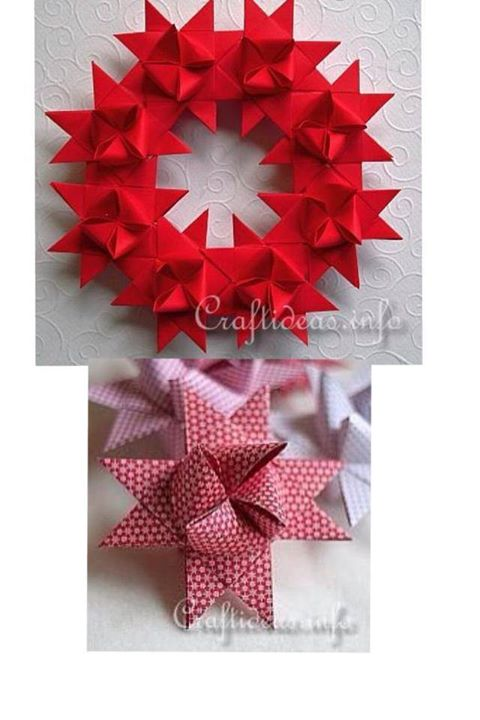 How To Make Beautiful German Star Wreath Paper Craft Step By Step