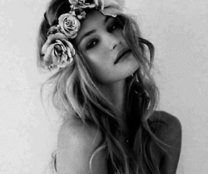 black&white, flower crown, and grunge image