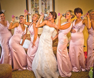 bridesmaids, pink, and wedding image