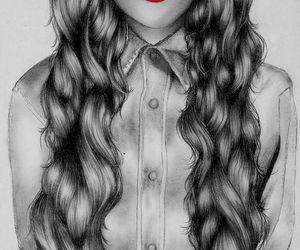 drawing, hair, and drawings image
