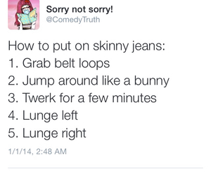 funny, jeans, and skinny jeans image