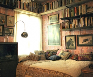 bed, pillows, and library image