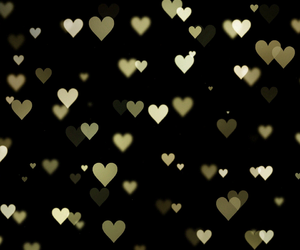 gold, golden, and hearts image
