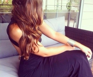 hair, dress, and brunette image