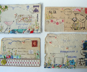letters, art, and postcard image
