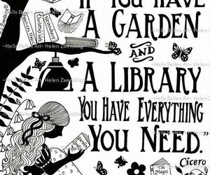 book, garden, and library image