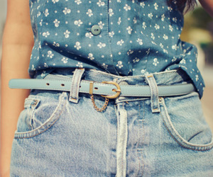 fashion, belt, and blue image