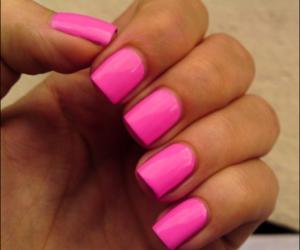 nails, acrylic nails, and pink image