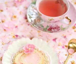 pink, tea, and cake image