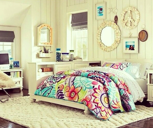 bedroom, bed, and mirror image