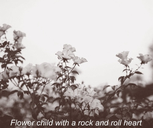 flowers, rock and roll, and black and white image