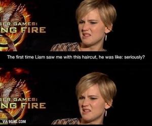 Jennifer Lawrence, funny, and liam hemsworth image