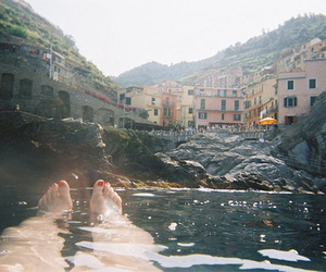 feet, water, and vintage image