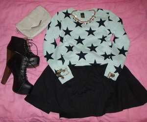 black skirt, outfit, and pink image